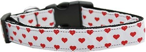White and Red Dotty Hearts Nylon Dog Collars Large